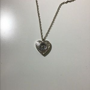 Silver Heart Compass Necklace